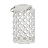 "11"" White Ceramic Open Circles Lantern With Silver Handle"