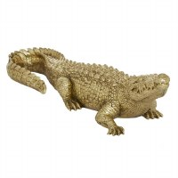 "16"" Gold Polyresin Crocodile Sculpture"