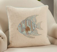 """18"""" Square Multipastels Embroidered Fish Pillow"""