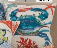 """20"""" Square Blue Crab and Coral Pillow"""