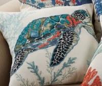 "20"" Square Turquoise Sea Turtle Pillow"