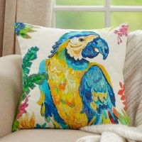 """20"""" Square Blue and Yellow Parrot Pillow"""