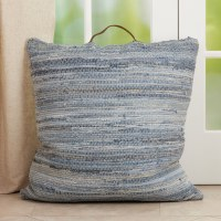 """20"""" Square Blue Denim Chindi Pillow With Handle"""
