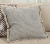 """20"""" Square Blue Gray Pinstriped Pillow With Fringe"""
