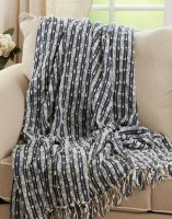 """50"""" x 60"""" Navy and Ivory Striped Cotton Throw With Tassel Balls"""