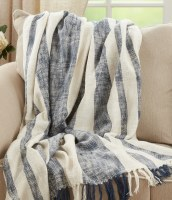 """50"""" x 60"""" Navy and Ivory Wide Striped Cotton Throw"""