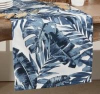 """14"""" x 72"""" Dark Blue Tropical Leaves Table Runner"""