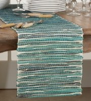 """14"""" x 72"""" Turquoise Water Hyacinth Table Runner"""