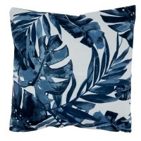 """17"""" Square Dark Blue Tropical Leaves Outdoor Pillow"""