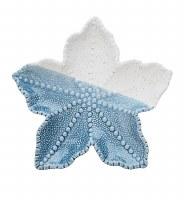 "8"" Blue and Bisque Ceramic Starfish Sea Star Dish"