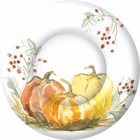 """Pack of 8 8"""" Round Painted Pumpkins Paper Plates"""