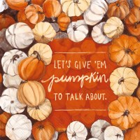 "5"" Square Pumpkin To Talk About Beverage Napkins"