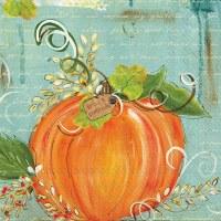 "5"" Square Orange Pumpkin on Aqua Grace & Gratitude Beverage Napkins"