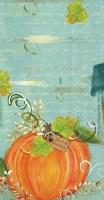 """8"""" x 5"""" Orange Pumpkin on Aqua Grace & Gratitude Guest Towels"""
