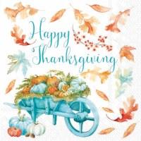 "5"" Square Aqua and Orange Thanksgiving Wheelbarrow Beverage Napkins"