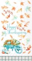 "8"" x 5"" Aqua and Orange Thanksgiving Pumpkin Wheelbarrow Guest Toweks"