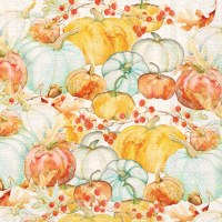 "5"" Square Aqua and Orange Watercolor Pumpkins Lunch Napkins"