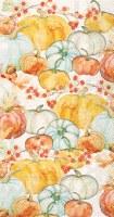 """8"""" x 5"""" Aqua and Orange Watercolor Pumpkins Guest Towels"""