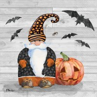 """5"""" Square Halloween Gnome With Bats and a Pumpkiin Beverage Napkins"""