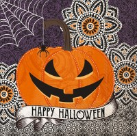 "5"" Square Happy Halloween Pumpkin With Spider Beverage Napkins"