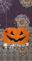 "8"" x 5"" Happy Halloween Pumpkin With Spider Guest Towels"