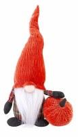 "14"" Bright Orange Corduroy Gnome With Pumpkin"