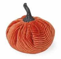 """4"""" Round Dark Orange Corduroy Pumpkin"""