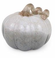 "7"" Round Large Gray Glass Twilight Pumpkin"