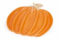 """12"""" Orange Pumpkin Shaped Divided Platter"""