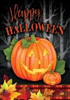 """12"""" x 18"""" Mini Red Plaid Happy Halloween Jack-O-Lanterns Garden Flag"""