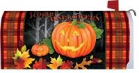 "7"" x 17"" Red Plaid Happy Halloween Jack-O-Lanterns Mailbox Cover"