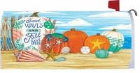 """7"""" x 17"""" Fall Days Beach Pumpkins Mailbox Cover"""