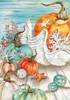 "28"" x 40"" Pumpkins and Shells Fall Coastal Garden Flag"