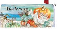 "7"" x 17"" Pumpkins and Shells Fall Coastal Welcome Mailbox Cover"