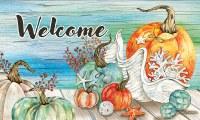 """18"""" x 30"""" Pumpkins and Shells Fall Coastal Welcome Doormat"""