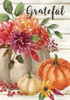 "28"" x 40"" Grateful Floral and Pumpkins Garden Flag"