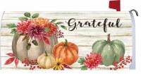 "7"" x 17"" Grateful Floral and Pumpkins Mailbox Cover"