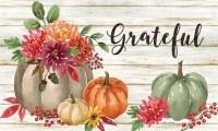 """18"""" x 30"""" Grateful Floral and Pumpkins Doormat"""