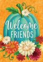 "12"" x 18"" Mini Teal Pumpkins and Flowers Welcome Friends Garden Flag"