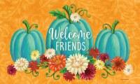 "18"" x 30"" Teal Pumpkins and Flowers Welcome Friends Doormat"