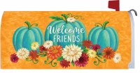 """7"""" x 17"""" Teal Pumpkins and Flowers Welcome Friends Mailbox Cover"""