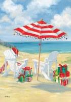 "28"" x 40"" Beach Chairs and Umbrella Welcome Garden Flag"