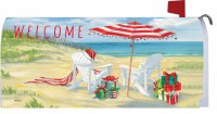 """7"""" x 17"""" Beach Chairs and Umbrella Welcome Mailbox Cover"""