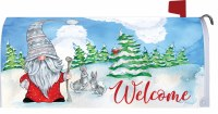 """7"""" x 17"""" Winter Gnome and Bunnies Welcome Mailbox Cover"""