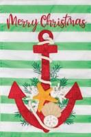 """12"""" x 18"""" Mini Striped Merry Christmas Anchor Garden Flag"""