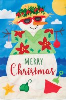 """12"""" x 18"""" Mini Merry Christmas Tropical Sandman Garden Flag"""