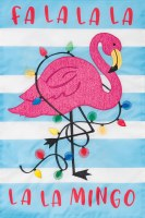 """12"""" x 18"""" Mini Pink and Blue Flamingo and Lights Garden Flag"""