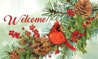 "18"" x 30"" Cardinal and Pines Welcome Doormat"