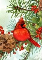 """12"""" x 18"""" Mini Cardinal and Pines Garden Flag"""