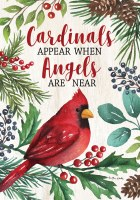 """12"""" x 18"""" Mini Cardinals and Angels Holly Berry Garden Flag"""